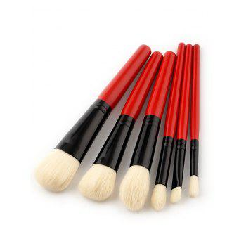 6 PCS Two Tones Makeup Brush Suit - RED RED
