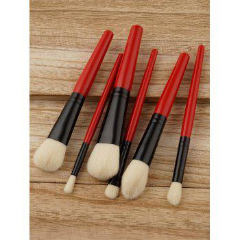 6 PCS Ensemble Pinceau Maquillage à Deux Tons - Rouge