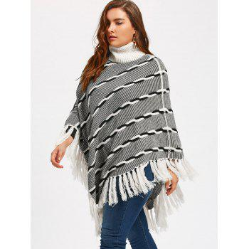 Tassel Plus Size Stripe Turtleneck Poncho Sweater - 5XL 5XL