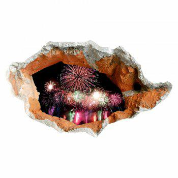Waterproof Floor Sticker 3D Hole Fireworks Wall Decal -  COLORFUL