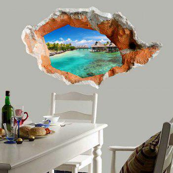 3D Hole Seaside Scenery Floor Sticker Waterproof Wall Decal - GREEN GREEN
