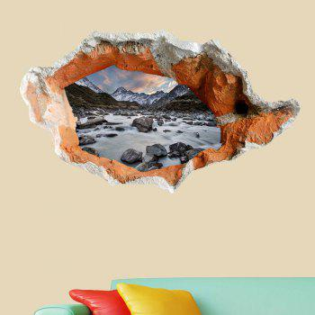 Floor Decal Snow Mountain Stone Stream 3D Hole Wall Sticker -  GRAY