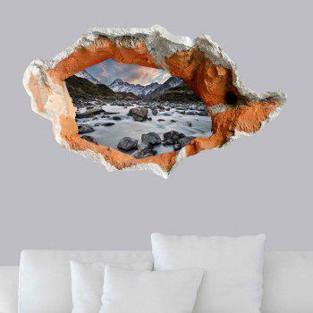 Floor Decal Snow Mountain Stone Stream 3D Hole Wall Sticker - GRAY GRAY