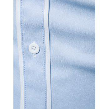 Edging Color Block Panel Button Down Shirt - Bleu clair XL
