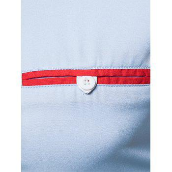 Edging Color Block Panel Button Down Shirt - Bleu Léger L