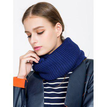 Woolen Yarn Plain Knit Infinite Scarf - BLUE