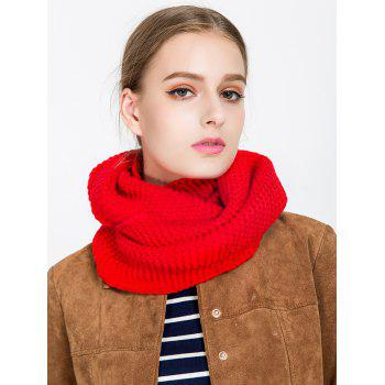 Woolen Yarn Plain Knit Infinite Scarf - RED RED