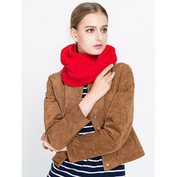 Woolen Yarn Plain Knit Infinite Scarf -  RED