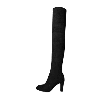 Mid Heel Tie Back Thigh High Boots - Noir 40