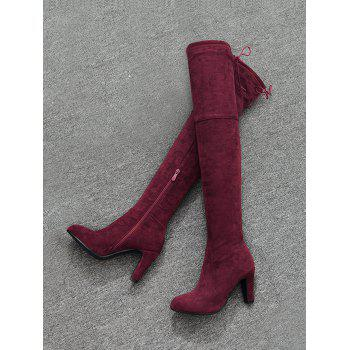 Mid Heel Tie Back Thigh High Boots - Rouge vineux 36