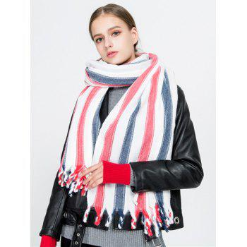 Vertical Striped Pattern Tassel Long Scarf - RED RED