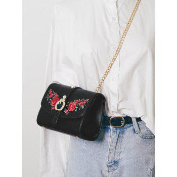Faux Pearl Embroidery Metal Detailed Crossbody Bag -  BLACK
