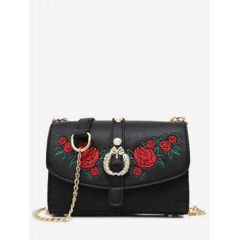 Faux Pearl Embroidery Metal Detailed Crossbody Bag - BLACK BLACK