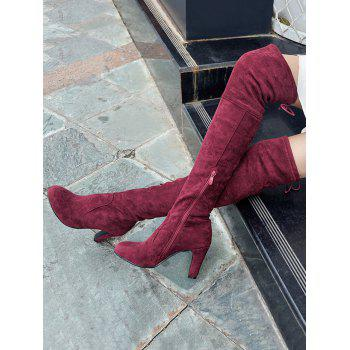 Mid Heel Tie Back Thigh High Boots - WINE RED 42