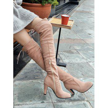 Mid Heel Tie Back Thigh High Boots - ROSE PÂLE 35