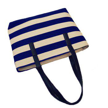 Color Block Striped Canvas Shoulder Bag - BLUE