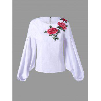 Zip Up Flower Embroidered Puff Sleeve Blouse - WHITE M