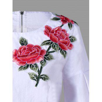 Zip Up Flower Embroidered Puff Sleeve Blouse - L L