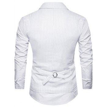 Belt Double Breasted Vertical Stripe Waistcoat - WHITE M