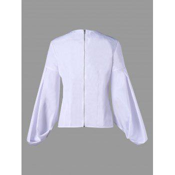Zip Up Flower Embroidered Puff Sleeve Blouse - WHITE 2XL