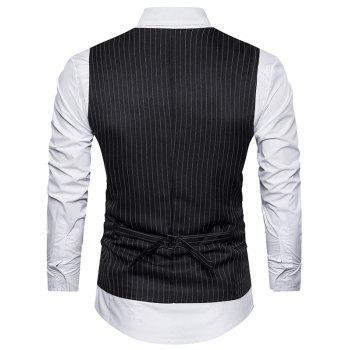 Belt Single Breasted Vertical Stripe Waistcoat - BLACK BLACK