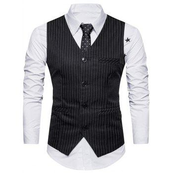 Belt Single Breasted Vertical Stripe Waistcoat