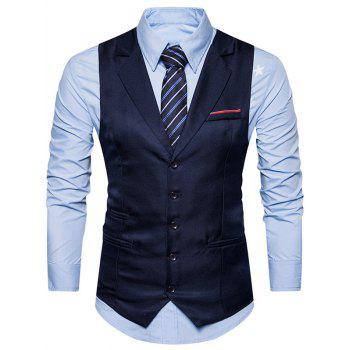 Single Breasted Belt Edging Waistcoat - CADETBLUE M