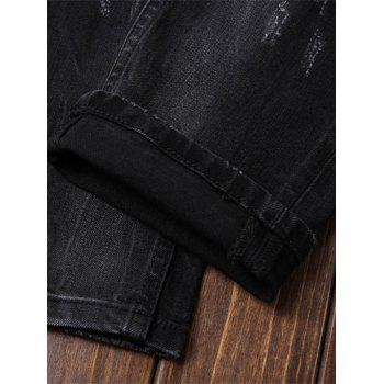 Paint Straight Leg Ripped Jeans - DEEP GRAY 32