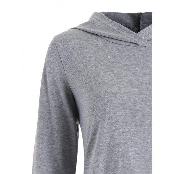 Sweat à Capuche Tunique Asymétrique à Pois - Gris XL