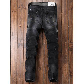 Paint Straight Leg Ripped Jeans - DEEP GRAY 36