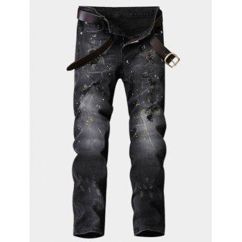 Paint Straight Leg Ripped Jeans - DEEP GRAY DEEP GRAY
