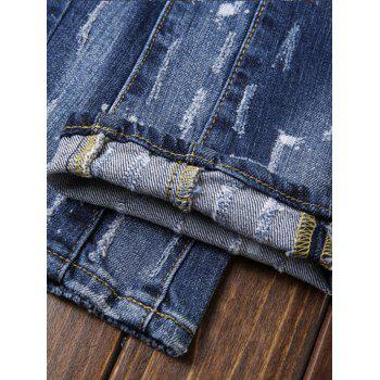 Patch Design Paint Print Ripped Jeans - BLUE 32