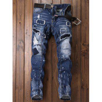 Patch Design Paint Print Ripped Jeans - BLUE BLUE