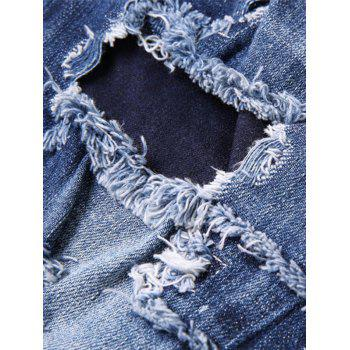 Patch Design Paint Print Ripped Jeans - BLUE 33
