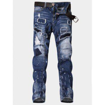 Patch Design Paint Print Ripped Jeans - BLUE 34