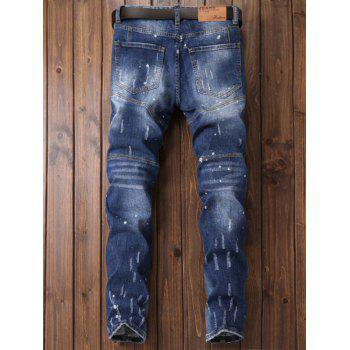 Patch Design Paint Print Ripped Jeans - BLUE 36