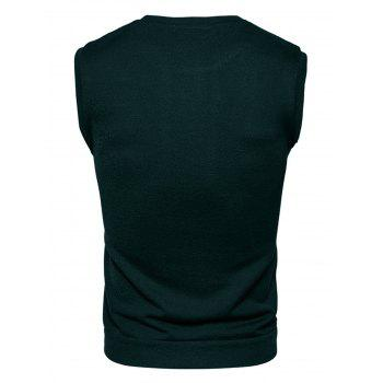 Buttons Design Vest - BLACKISH GREEN S