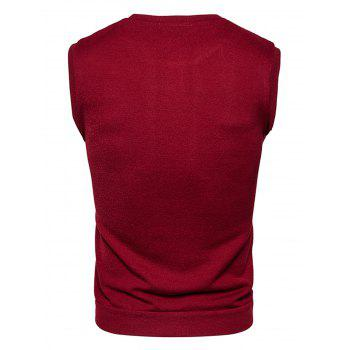 Buttons Design Vest - WINE RED 2XL