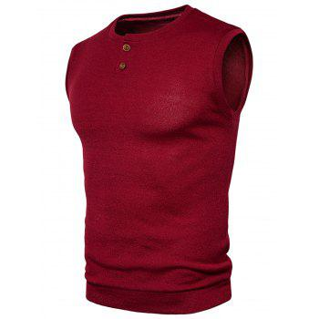 Buttons Design Vest - WINE RED M