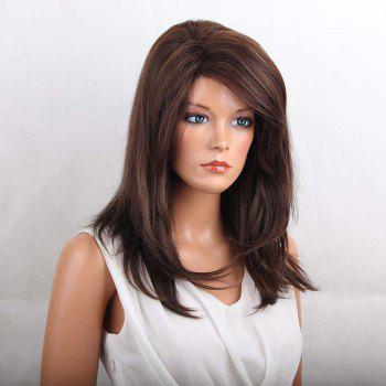 Long Oblique Bang Layered Natural Straight Heat Resistant Synthetic Wig - COLORMIX