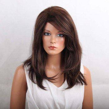 Long Oblique Bang Layered Natural Straight Heat Resistant Synthetic Wig - COLORMIX COLORMIX