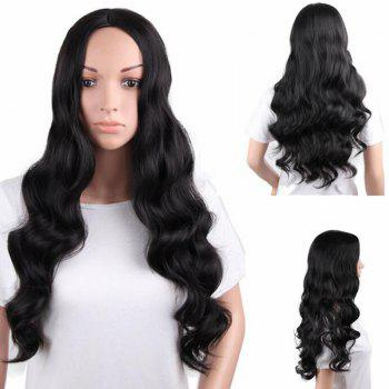 Center Parting Long Fluffy Body Wave Synthetic Wig - BLACK BLACK