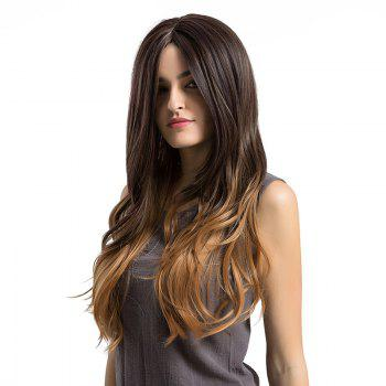 Long Ombre Center Parting Layered Slightly Curly Synthetic Wig - GRADUAL BROWN GRADUAL BROWN