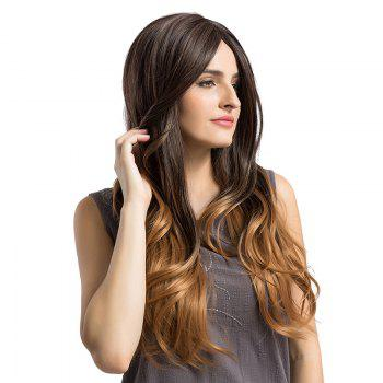 Long Ombre Center Parting Layered Slightly Curly Synthetic Wig - GRADUAL BROWN