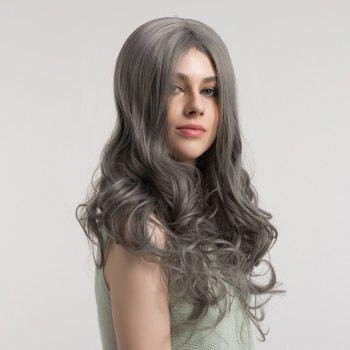 Center Parting Long Fluffy Long Curly Synthetic Wig - GRAY GRAY