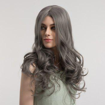 Center Parting Long Fluffy Long Curly Synthetic Wig -  GRAY