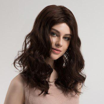 Center Parting Shaggy Long Wavy Synthetic Wig -  BROWN