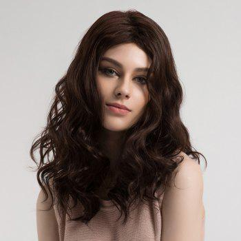Center Parting Shaggy Long Wavy Synthetic Wig - BROWN BROWN