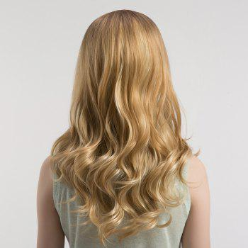 Long Center Parting Curly Ombre Synthetic Wig -  BROWN/GOLDEN