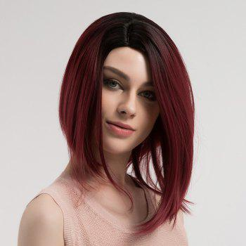 Side Parting Short Straight Bob Ombre Synthetic Wig - DRAK WINE RED OMBRE DRAK WINE RED OMBRE